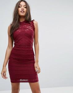 Кружевное платье мини с оборками Michelle Keegan Love Lipsy - Красный
