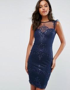 Декорированное облегающее платье с сетчатыми вставками и оборками Michelle Keegan Love Lipsy - Темно-синий