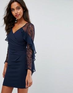 Платье с длинными рукавами и оборками Lipsy - Темно-синий