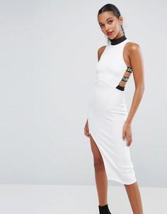 Облегающее платье миди с высоким воротом и принтом LOVE на ремешках ASOS - Белый