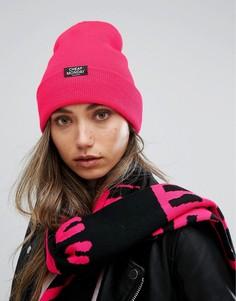 Шапка-бини в рубчик с логотипом Cheap Monday - Розовый
