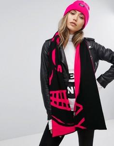 Шарф с логотипом (черный/розовый) Cheap Monday - Мульти