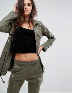 Куртка в стиле милитари с отделкой металлик Religion - Зеленый