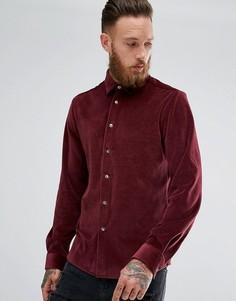 Бордовая велюровая рубашка классического кроя ASOS - Красный