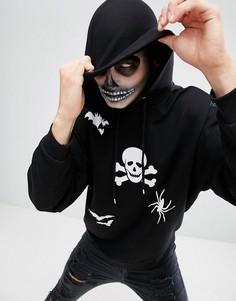 Оверсайз-худи с принтом для Хэллоуина ASOS - Черный
