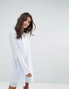 Чайное платье с плиссированными рукавами клеш Vero Moda - Синий