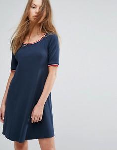 Платье в рубчик с контрастным воротником Tommy Hilfiger Denim - Темно-синий