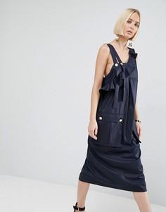 Платье миди с оборкой и декоративным ремешком ASOS WHITE - Темно-синий