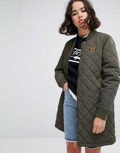 Зеленое удлиненное стеганое пальто Vans Boom Boom - Зеленый