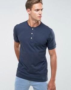 Темно-синяя узкая футболка хенли Abercrombie & Fitch - Темно-синий