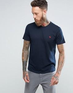 Темно-синяя футболка слим с круглым вырезом и логотипом Abercrombie & Fitch - Темно-синий