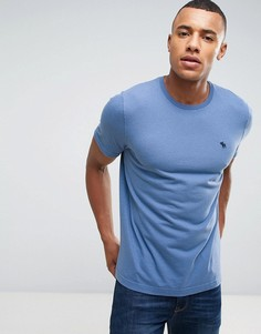 Синяя узкая футболка с круглым вырезом Abercrombie & Fitch - Синий
