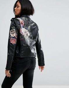 Куртка из искусственной кожи с цветочной отделкой Blank NYC - Черный