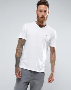 Белая футболка узкого кроя с V-образным вырезом и логотипом Abercrombie & Fitch - Белый