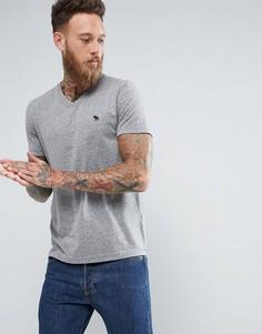 Серая меланжевая футболка слим с V-образным вырезом и логотипом Abercrombie & Fitch - Серый