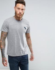 Серая меланжевая футболка слим с круглым вырезом и крупным логотипом Abercrombie & Fitch - Серый