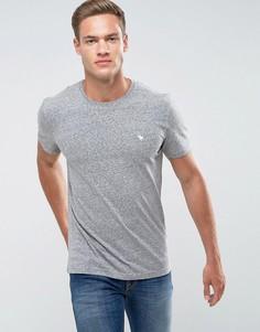 Серая облегающая футболка с круглым вырезом и логотипом Abercrombie & Fitch - Серый