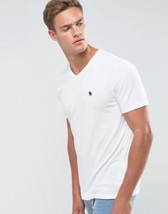 Белая футболка с V-образным вырезом и логотипом Abercrombie & Fitch - Белый