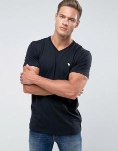 Черная футболка с V-образным вырезом и логотипом Abercrombie & Fitch - Черный