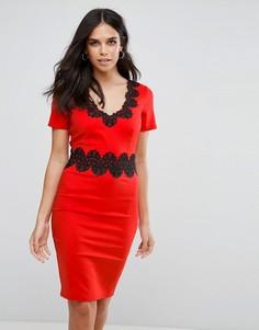 Платье с кружевной отделкой Paper Dolls - Оранжевый