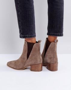 Замшевые ботинки челси на каблуке Dune - Бежевый