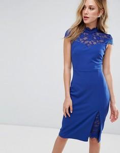Платье-футляр с кружевными вставками City Goddess - Синий