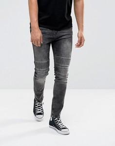 Черные супероблегающие джинсы в байкерском стиле Brooklyns Own - Черный