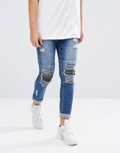 Байкерские джинсы скинни с рваной отделкой и камуфляжным принтом на нашивках Brooklyns Own - Синий