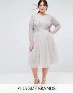 Декорированное короткое приталенное платье с юбкой из тюля Lovedrobe Luxe - Серый