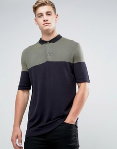 Трикотажная футболка-поло в стиле колор блок Kiomi - Зеленый