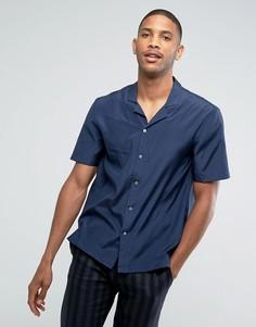 Темно-синяя рубашка с отложным воротником из ткани с добавлением шелка Kiomi - Темно-синий