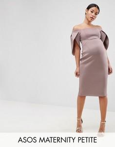 Облегающее платье миди с широким вырезом и рукавом-лепестком ASOS Maternity PETITE - Розовый