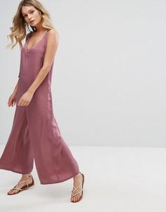 Оверсайз-комбинезон в минималистском стиле с пряжкой Moon River - Розовый