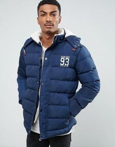 Стеганая куртка с подкладкой из искусственного меха на капюшоне Blend - Темно-синий
