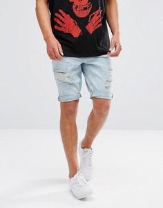 Джинсовые шорты скинни с рваной отделкой Brooklyns Own - Синий