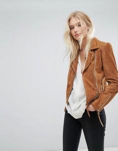 Замшевая байкерская куртка Lab - Коричневый