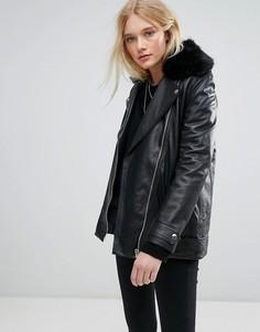 Длинная кожаная куртка с ремнем и искусственным мехом Lab - Черный