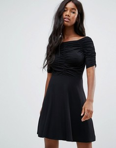 Чайное платье мини со сборками ASOS - Черный