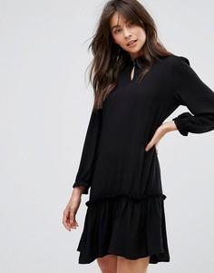 Платье с оборкой на подоле Only - Черный