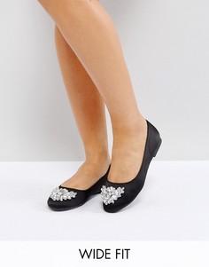 Балетки с камнями New Look Wide Fit - Черный