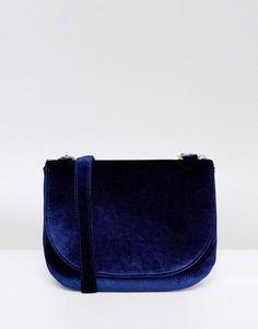 Бархатная сумка-седло через плечо Monki - Темно-синий