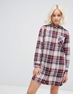 Классическое платье-рубашка в клетку Jack Wills - Белый