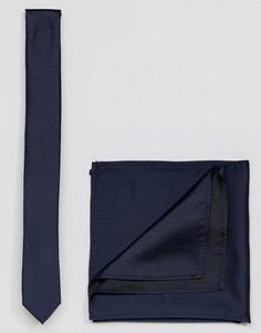 Темно-синий галстук и платок для пиджака ASOS - Темно-синий