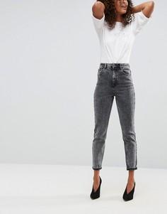 Черные джинсы слим с завышенной талией и эффектом кислотной стирки ASOS FARLEIGH - Черный