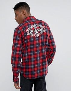 Красная клетчатая рубашка с принтом сзади Vans Norwood VA36LIKHI - Красный