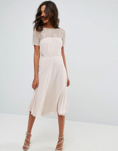 Платье миди с кружевными вставками ASOS - Бежевый