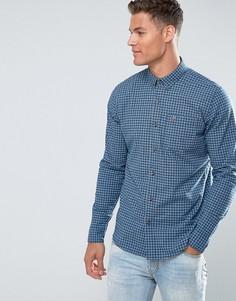 Синяя приталенная поплиновая рубашка в клетку Hollister - Синий