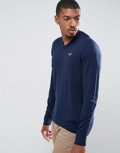 Темно-синий меланжевый джемпер с V-образным вырезом и логотипом Hollister - Темно-синий