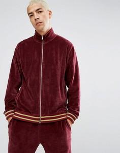 Бордовая спортивная куртка из трикотажного велюра ASOS - Красный