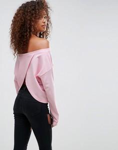 Свитшот с открытыми плечами и запахом на спине ASOS - Розовый